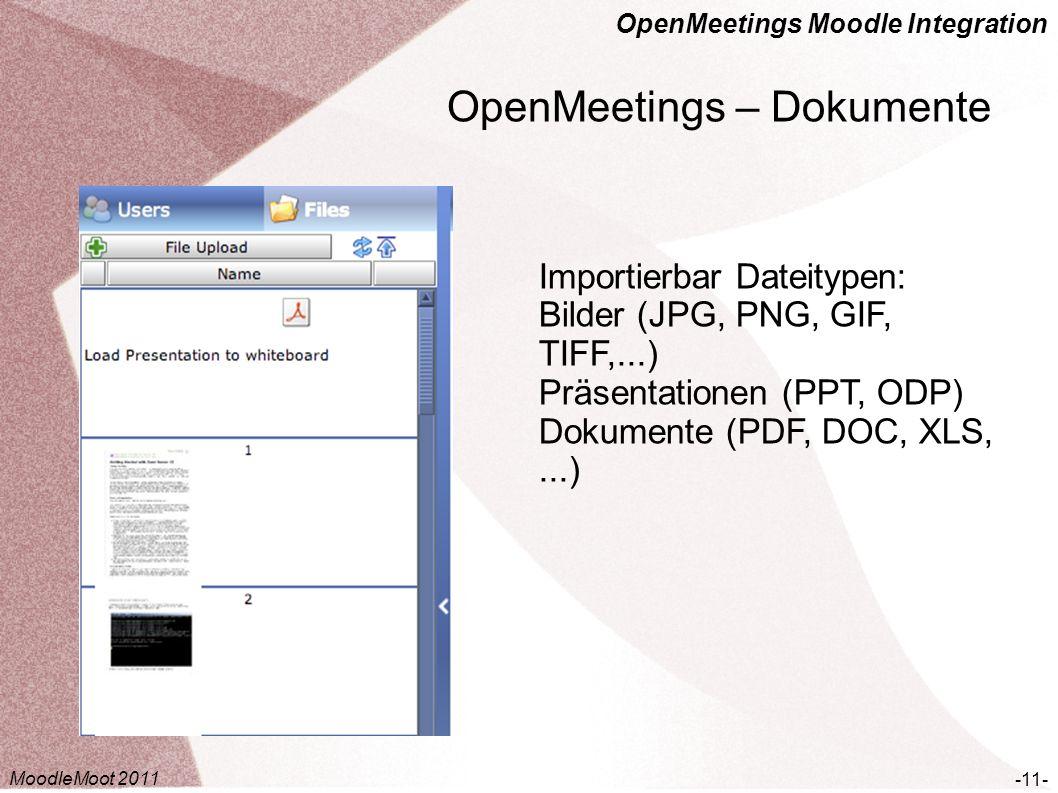 OpenMeetings Moodle Integration OpenMeetings – Dokumente -11- Importierbar Dateitypen: Bilder (JPG, PNG, GIF, TIFF,...) Präsentationen (PPT, ODP) Doku