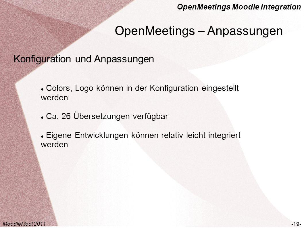 OpenMeetings Moodle Integration OpenMeetings – Anpassungen -19- Konfiguration und Anpassungen Colors, Logo können in der Konfiguration eingestellt wer
