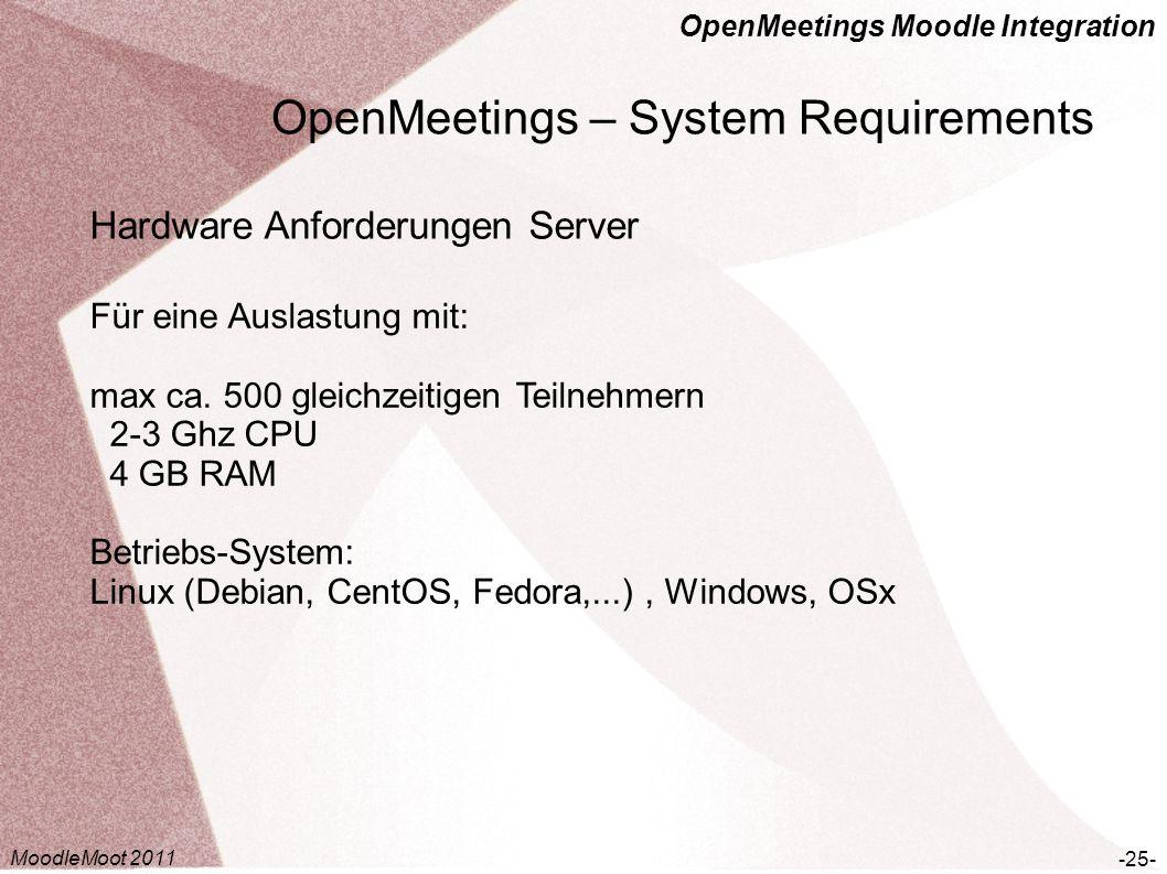 OpenMeetings Moodle Integration OpenMeetings – System Requirements -25- Hardware Anforderungen Server Für eine Auslastung mit: max ca. 500 gleichzeiti