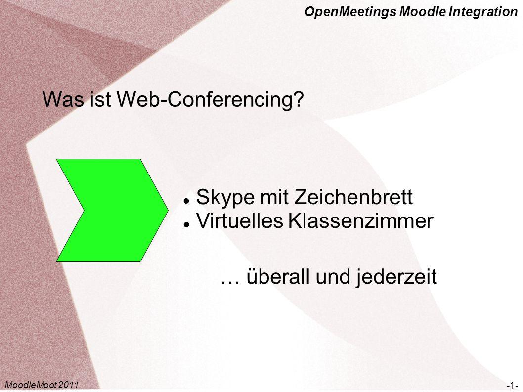 OpenMeetings Moodle Integration Was ist Web-Conferencing? Skype mit Zeichenbrett Virtuelles Klassenzimmer -1- … überall und jederzeit MoodleMoot 2011