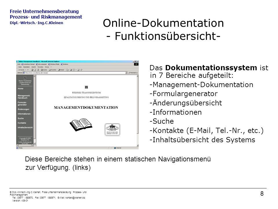 Freie Unternehmensberatung Prozess- und Riskmanagement Dipl.-Wirtsch.-Ing.C.Kleinen © Dipl.-Wirtsch.-Ing.C.Kleinen, Freie Unternehmensberatung Prozess