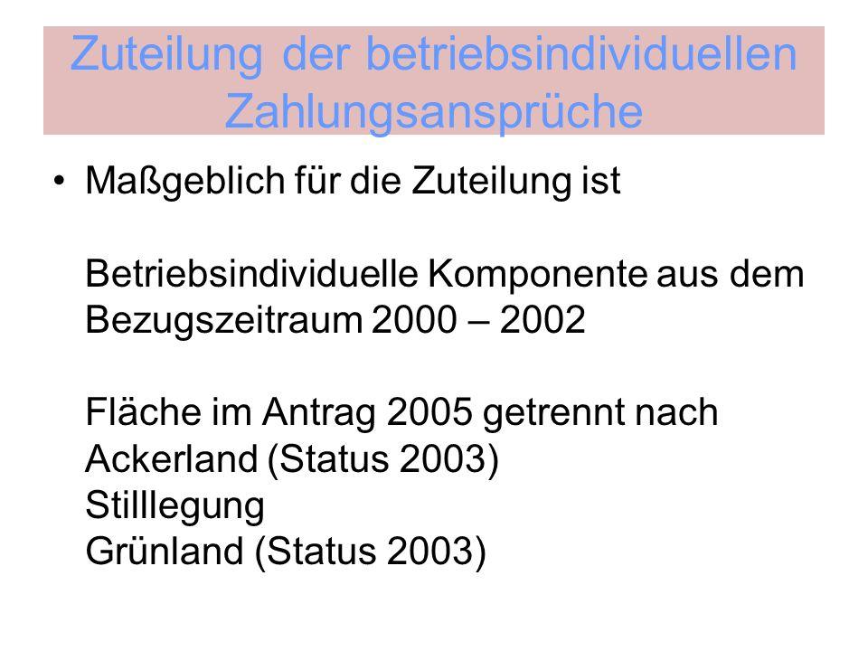 Zuteilung der betriebsindividuellen Zahlungsansprüche Maßgeblich für die Zuteilung ist Betriebsindividuelle Komponente aus dem Bezugszeitraum 2000 – 2