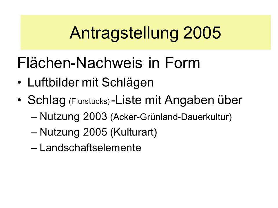 Flächen-Nachweis in Form Luftbilder mit Schlägen Schlag (Flurstücks) -Liste mit Angaben über –Nutzung 2003 (Acker-Grünland-Dauerkultur) –Nutzung 2005