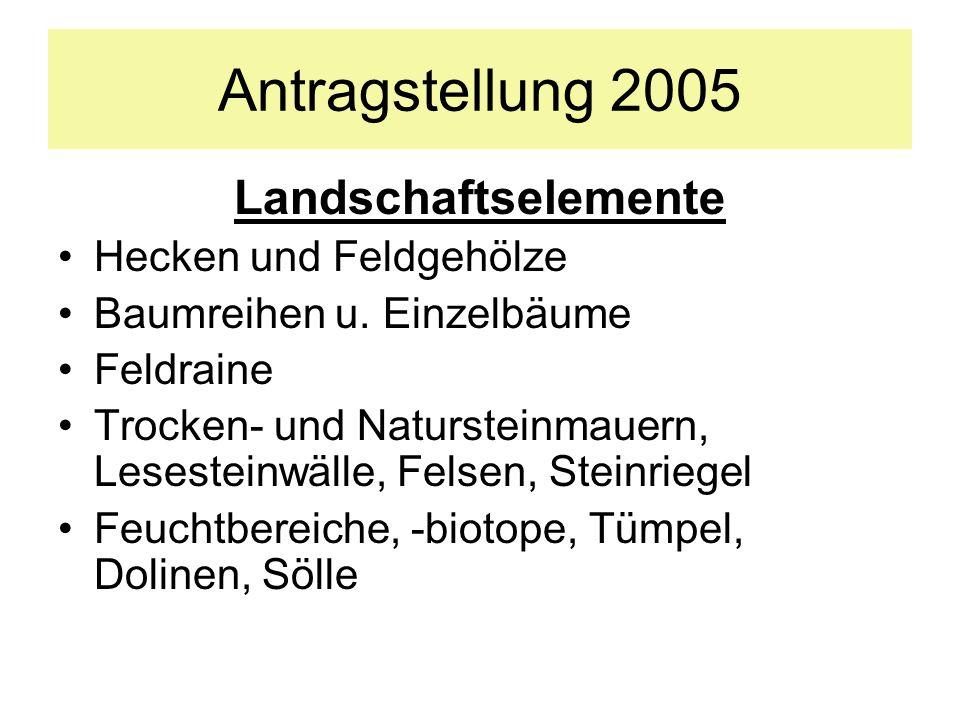 Landschaftselemente Hecken und Feldgehölze Baumreihen u. Einzelbäume Feldraine Trocken- und Natursteinmauern, Lesesteinwälle, Felsen, Steinriegel Feuc