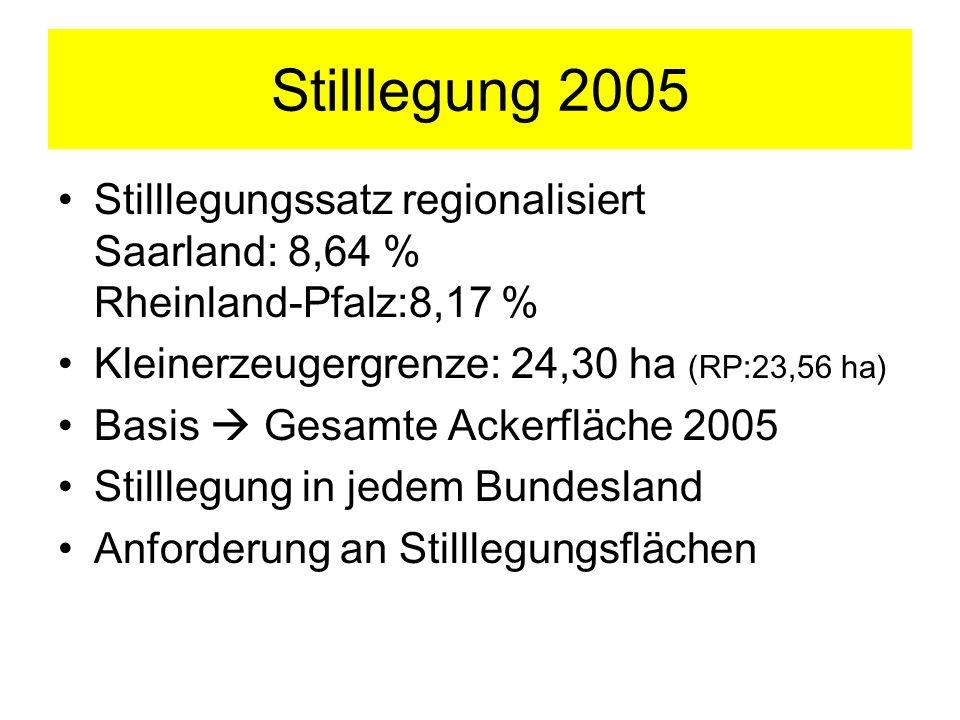 Stilllegung 2005 Stilllegungssatz regionalisiert Saarland: 8,64 % Rheinland-Pfalz:8,17 % Kleinerzeugergrenze: 24,30 ha (RP:23,56 ha) Basis Gesamte Ack