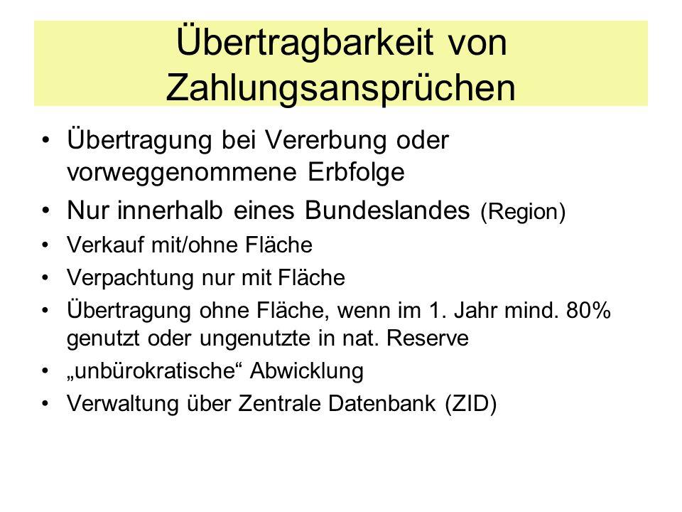 Übertragbarkeit von Zahlungsansprüchen Übertragung bei Vererbung oder vorweggenommene Erbfolge Nur innerhalb eines Bundeslandes (Region) Verkauf mit/o