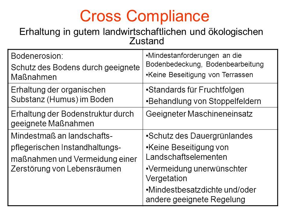 Cross Compliance Erhaltung in gutem landwirtschaftlichen und ökologischen Zustand Bodenerosion: Schutz des Bodens durch geeignete Maßnahmen Mindestanf