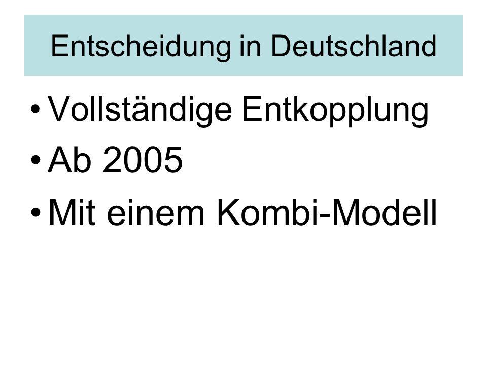 Entscheidung in Deutschland Vollständige Entkopplung Ab 2005 Mit einem Kombi-Modell