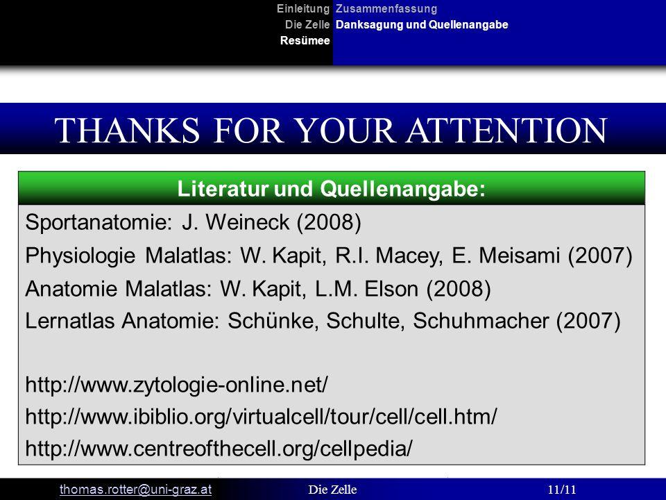 EinleitungZusammenfassung Die ZelleDanksagung und Quellenangabe Resümee thomas.rotter@uni-graz.at Die Zelle11/11 THANKS FOR YOUR ATTENTION Literatur u