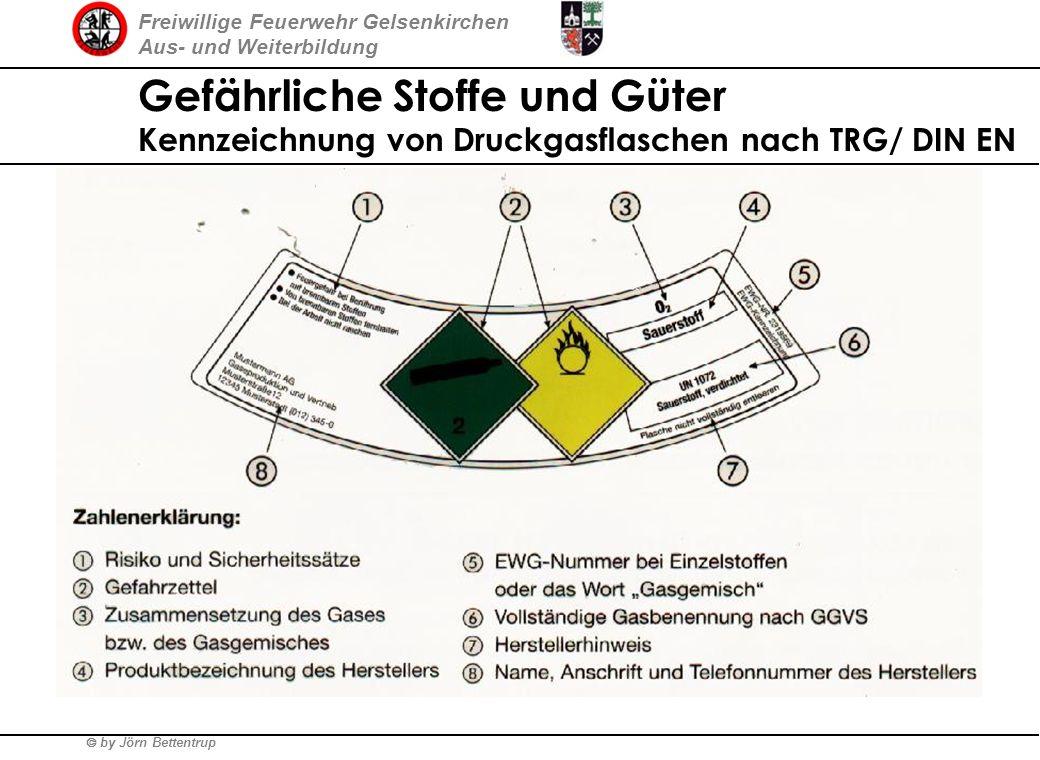 Freiwillige Feuerwehr Gelsenkirchen Aus- und Weiterbildung by Jörn Bettentrup Bis zum 1.7.2006 Gefährliche Stoffe und Güter Kennzeichnung von Druckgas