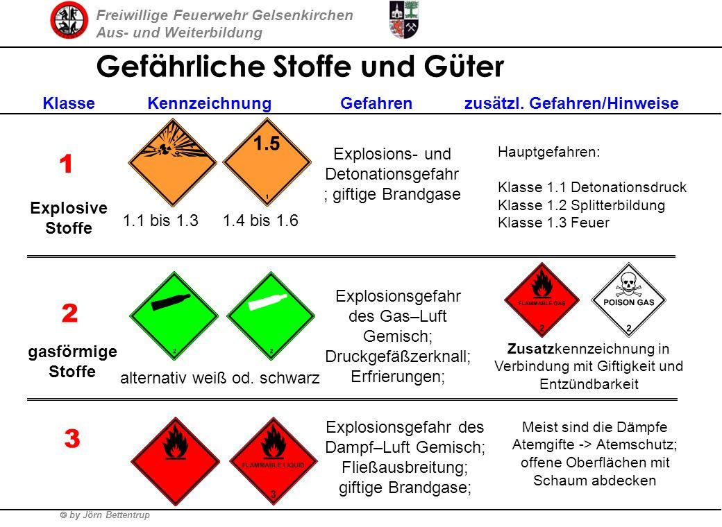 Freiwillige Feuerwehr Gelsenkirchen Aus- und Weiterbildung by Jörn Bettentrup Gefährliche Stoffe und Güter Gefahrklassen nach GGVS/ADR 1.Explosive Sto