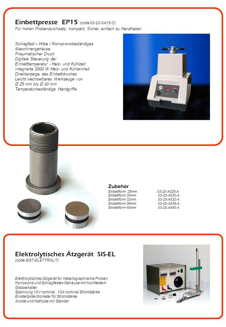 Einbettpresse EP15 (code 02-22-0A15-C) Für hohen Probendurchsatz, kompakt, Sicher, einfach zu Handhaben Schlagfest – Hitze / Korrosionsbeständiges Mas