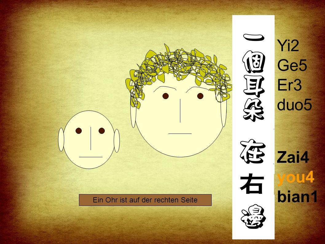 Yi2 Ge5 Er3 duo5 Zai4 zuo3 bian1 Ein Ohr ist auf der linken Seite