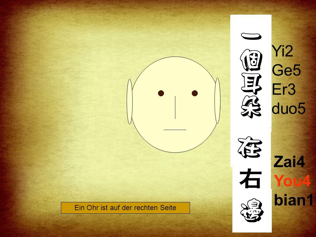 Zai4 Zuo3 bian1 Yi2 Ge5 Er3 duo5 Ein Ohr ist auf der linken Seite