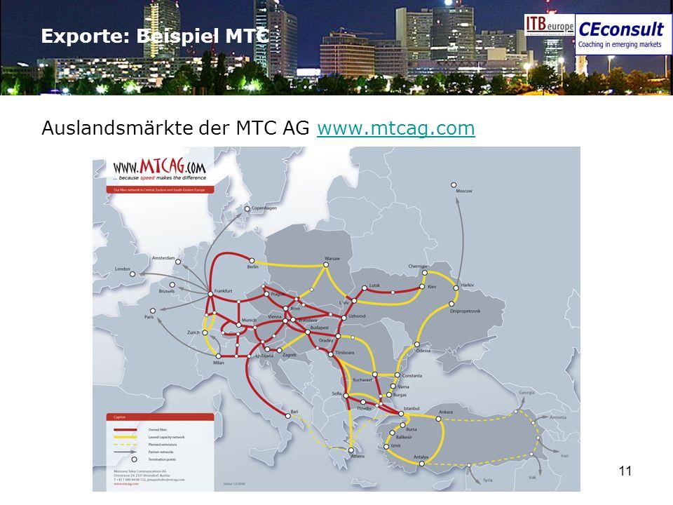 11 Exporte: Beispiel MTC Auslandsmärkte der MTC AG www.mtcag.comwww.mtcag.com