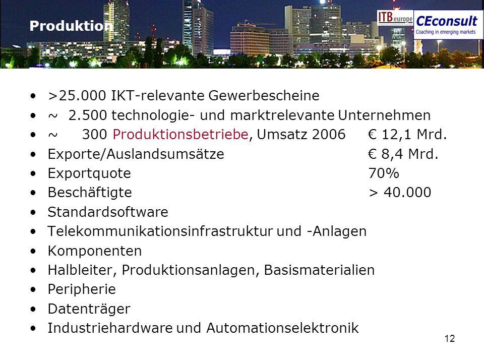 12 Produktion >25.000 IKT-relevante Gewerbescheine ~ 2.500 technologie- und marktrelevante Unternehmen ~ 300 Produktionsbetriebe, Umsatz 2006 12,1 Mrd
