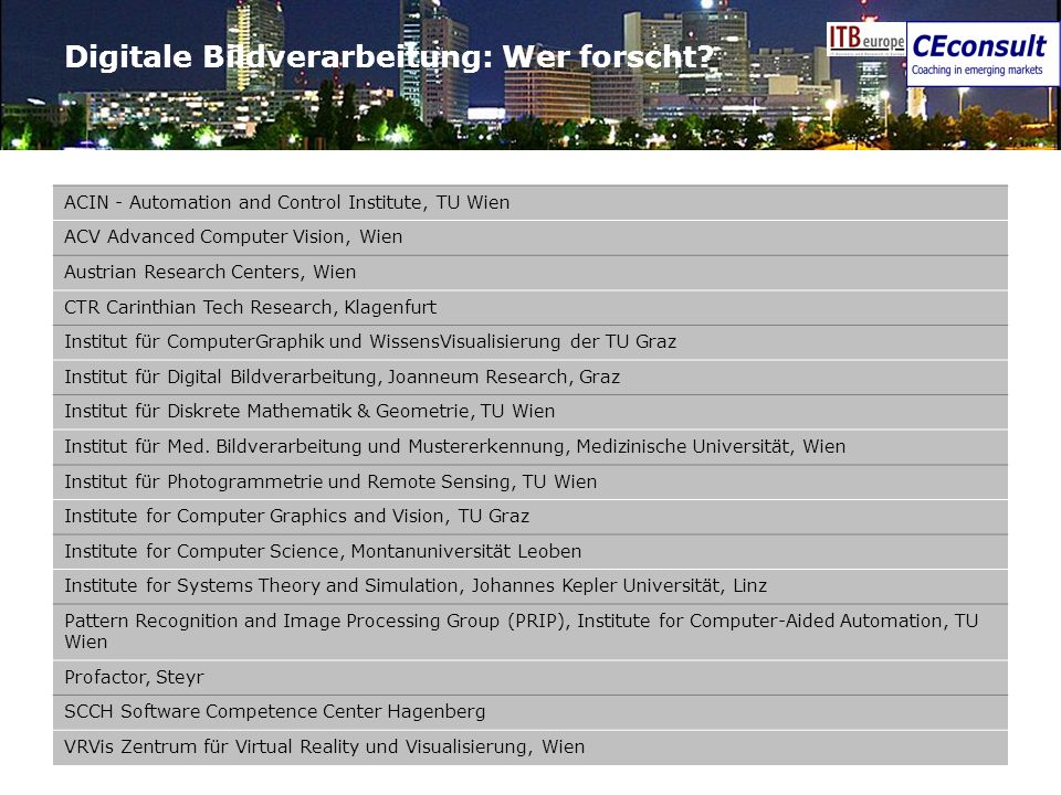 21 Digitale Bildverarbeitung: Wer forscht? ACIN - Automation and Control Institute, TU Wien ACV Advanced Computer Vision, Wien Austrian Research Cente