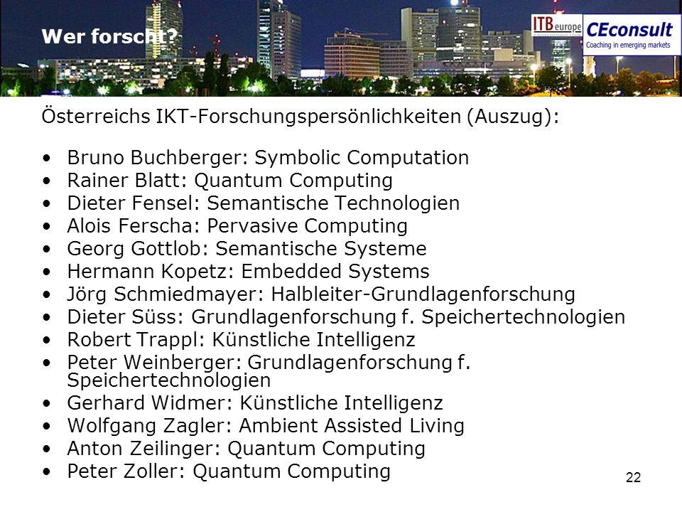 22 Wer forscht? Österreichs IKT-Forschungspersönlichkeiten (Auszug): Bruno Buchberger: Symbolic Computation Rainer Blatt: Quantum Computing Dieter Fen