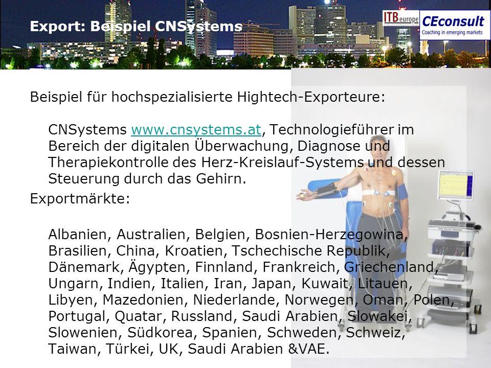 8 Export: Beispiel CNSystems Beispiel für hochspezialisierte Hightech-Exporteure: CNSystems www.cnsystems.at, Technologieführer im Bereich der digital