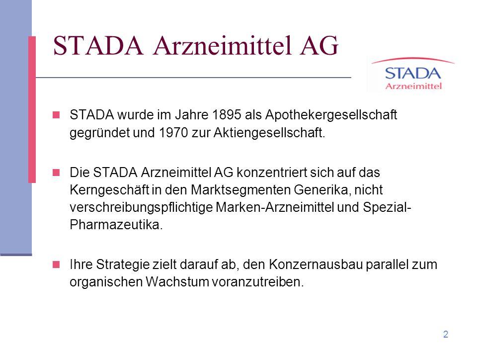 2 STADA Arzneimittel AG STADA wurde im Jahre 1895 als Apothekergesellschaft gegründet und 1970 zur Aktiengesellschaft. Die STADA Arzneimittel AG konze