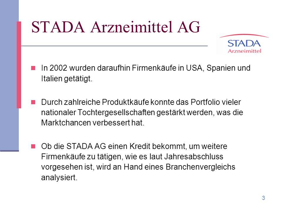 3 STADA Arzneimittel AG In 2002 wurden daraufhin Firmenkäufe in USA, Spanien und Italien getätigt. Durch zahlreiche Produktkäufe konnte das Portfolio