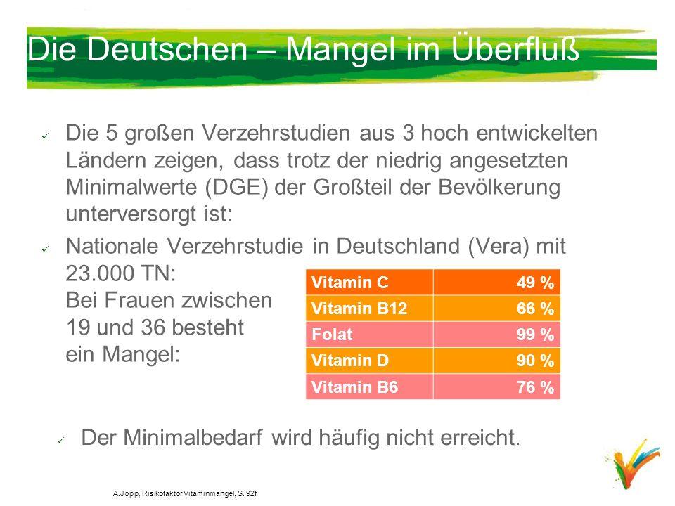 Die Deutschen – Mangel im Überfluß Die 5 großen Verzehrstudien aus 3 hoch entwickelten Ländern zeigen, dass trotz der niedrig angesetzten Minimalwerte