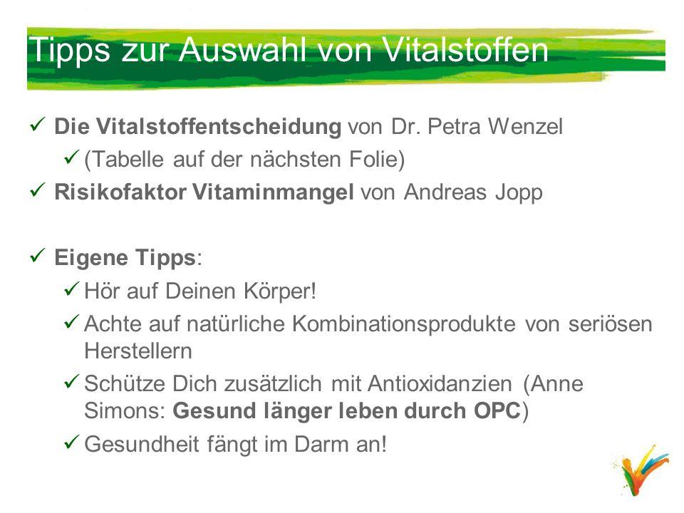 Tipps zur Auswahl von Vitalstoffen Die Vitalstoffentscheidung von Dr. Petra Wenzel (Tabelle auf der nächsten Folie) Risikofaktor Vitaminmangel von And