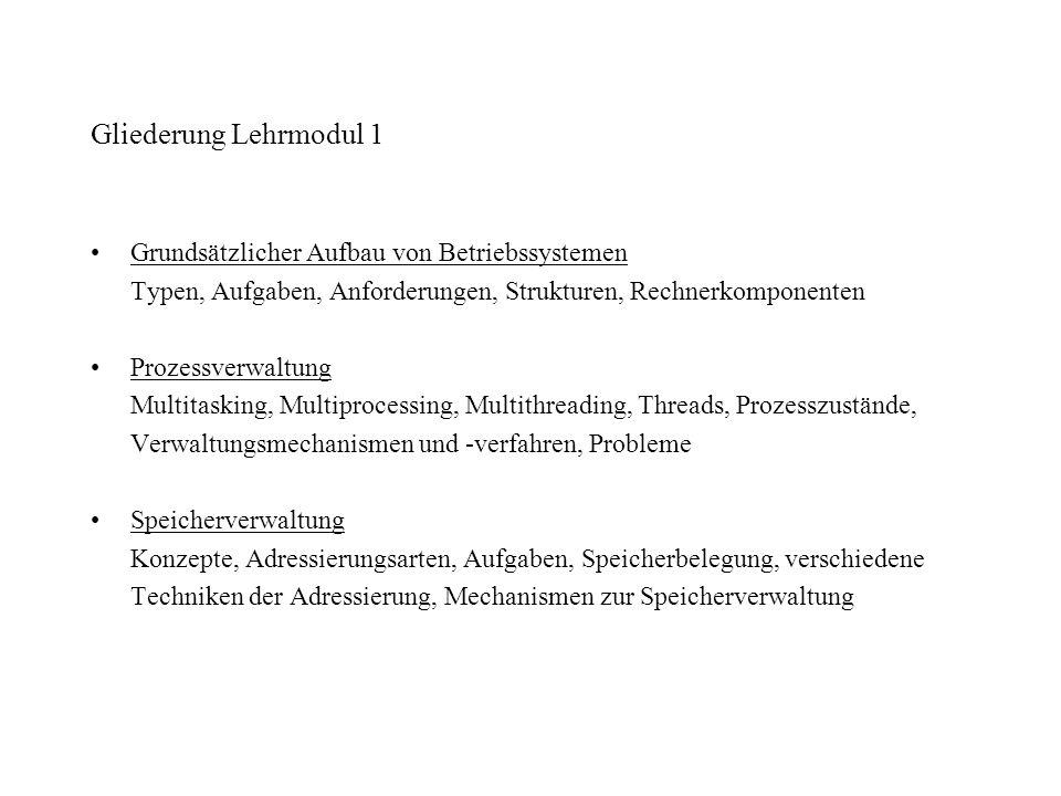 Gliederung Lehrmodul 1 Grundsätzlicher Aufbau von Betriebssystemen Typen, Aufgaben, Anforderungen, Strukturen, Rechnerkomponenten Prozessverwaltung Mu