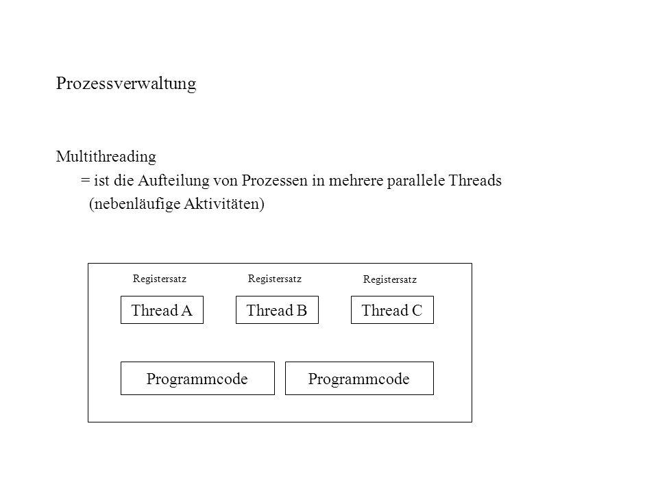 Prozessverwaltung Multithreading = ist die Aufteilung von Prozessen in mehrere parallele Threads (nebenläufige Aktivitäten) Thread AThread BThread C P