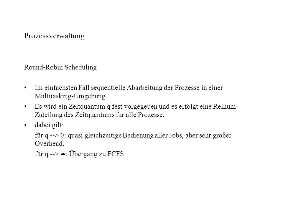 Prozessverwaltung Round-Robin Scheduling Im einfachsten Fall sequentielle Abarbeitung der Prozesse in einer Multitasking-Umgebung. Es wird ein Zeitqua