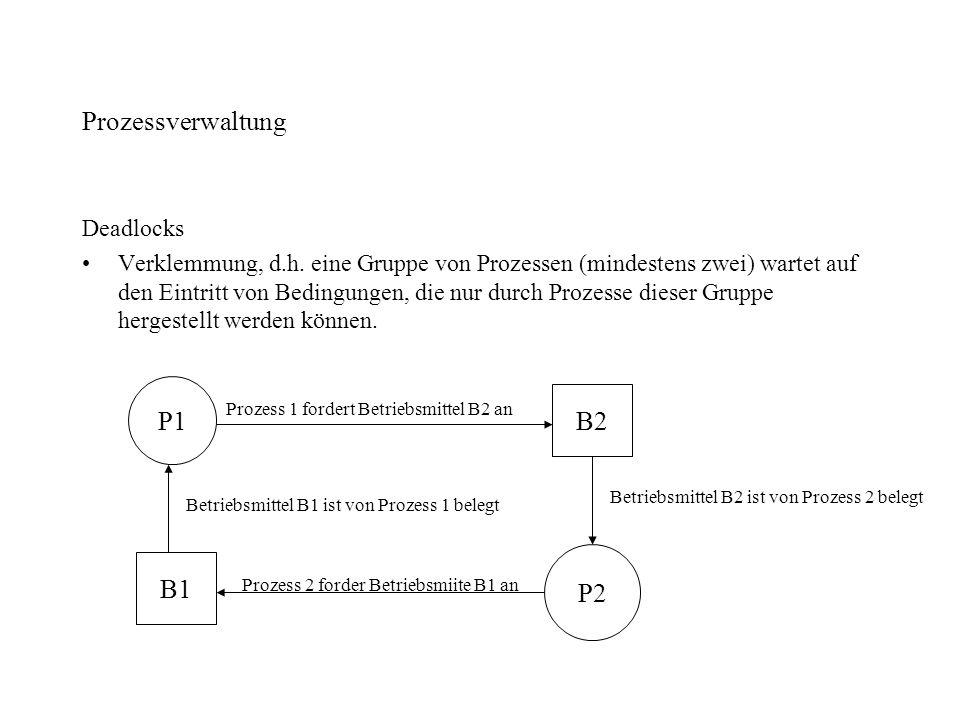 Prozessverwaltung Deadlocks Verklemmung, d.h. eine Gruppe von Prozessen (mindestens zwei) wartet auf den Eintritt von Bedingungen, die nur durch Proze