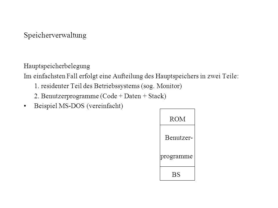 Speicherverwaltung Hauptspeicherbelegung Im einfachsten Fall erfolgt eine Aufteilung des Hauptspeichers in zwei Teile: 1. residenter Teil des Betriebs