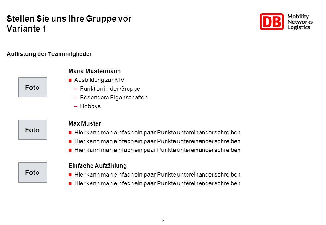 2 Stellen Sie uns Ihre Gruppe vor Variante 1 Maria Mustermann Ausbildung zur KfV –Funktion in der Gruppe –Besondere Eigenschaften –Hobbys Max Muster H
