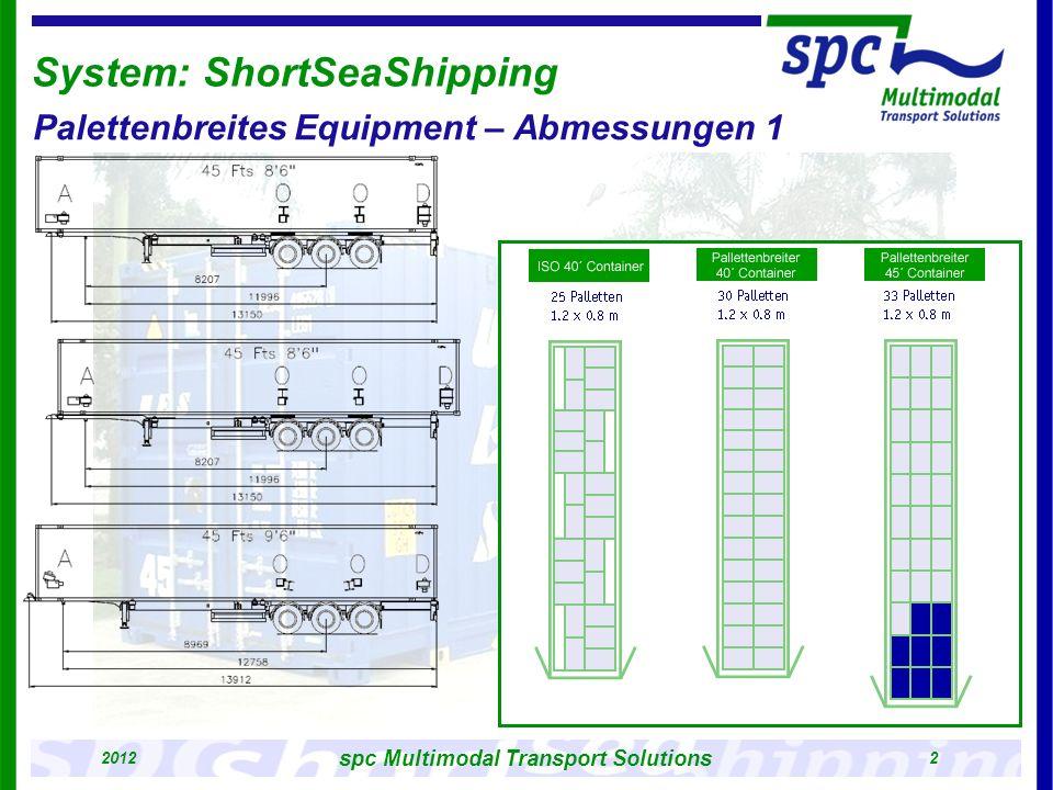 2012 3 spc Multimodal Transport Solutions external dimensions (mm) length13.716 width 2.500 height 2.896 internal dimensions (mm) length 13.556 width 2.444 height 2.695 doorway (mm) width 2.416 height 2.585 weights (kg) maximum overall weight34.000 maximum loading weight29.340 tare weight 4.660 volume (m³) 89,2 pallet storing position Euro Pallet (1200 x 800 mm) 33 Industry Pallet (1200 x 1000 mm) 26 System: ShortSeaShipping Palettenbreites Equipment – Abmessungen 2