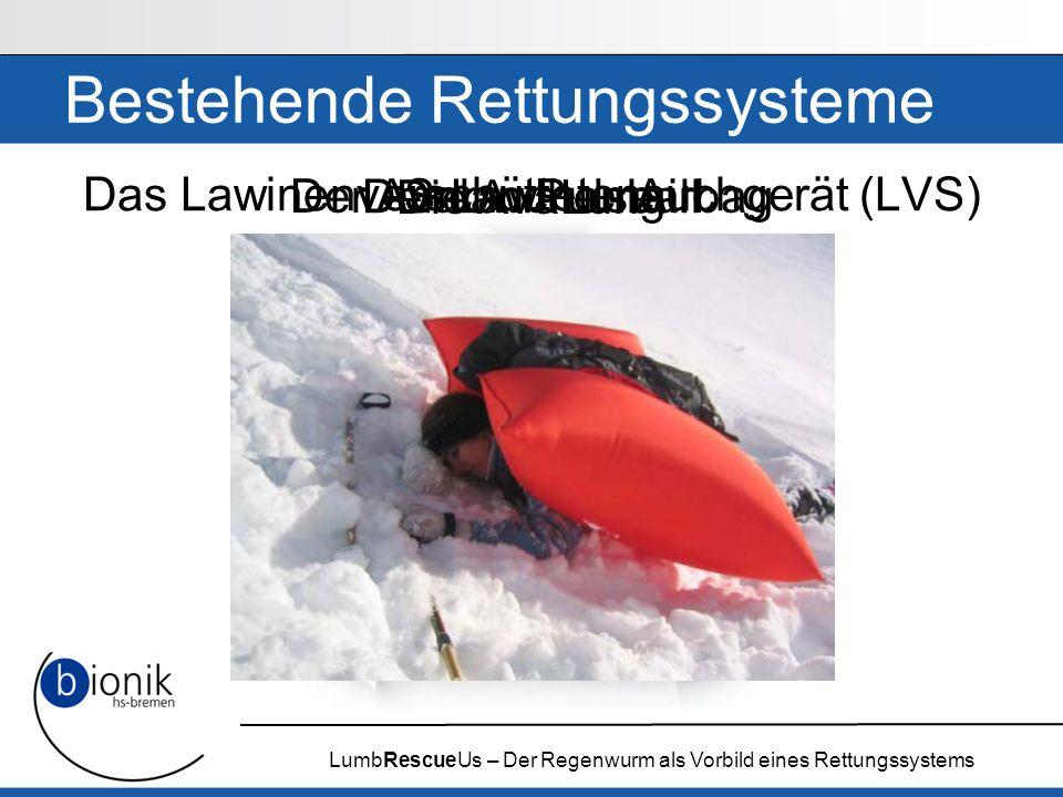 LumbRescueUs – Der Regenwurm als Vorbild eines Rettungssystems Der Lawinenball Snow Pulse Bestehende Rettungssysteme Das Lawinenverschüttetensuchgerät