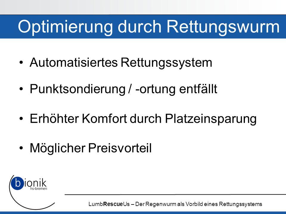 LumbRescueUs – Der Regenwurm als Vorbild eines Rettungssystems Optimierung durch Rettungswurm Automatisiertes Rettungssystem Punktsondierung / -ortung