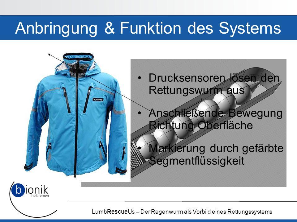 LumbRescueUs – Der Regenwurm als Vorbild eines Rettungssystems Anbringung & Funktion des Systems Drucksensoren lösen den Rettungswurm aus Anschließend