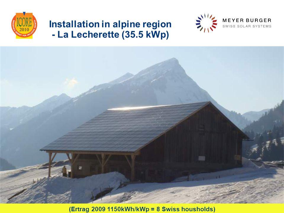 December 2010, Meyer Burger Technology Ltd 15 Installation in alpine region - La Lecherette (35.5 kWp) pendent (Ertrag 2009 1150kWh/kWp = 8 Swiss hous