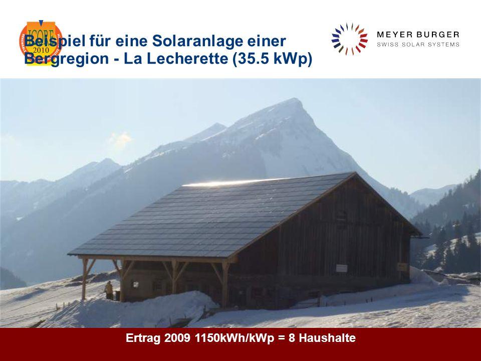December 2010, Meyer Burger Technology Ltd 20 Beispiel für eine Solaranlage einer Bergregion - La Lecherette (35.5 kWp) pendent Ertrag 2009 1150kWh/kW