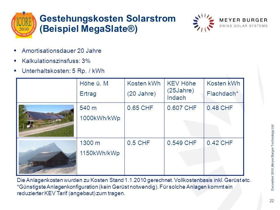 December 2010, Meyer Burger Technology Ltd 22 Gestehungskosten Solarstrom (Beispiel MegaSlate®) Amortisationsdauer 20 Jahre Kalkulationszinsfuss: 3% U