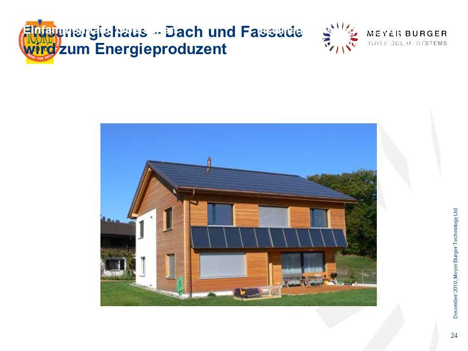 December 2010, Meyer Burger Technology Ltd 24 Plusenergiehaus – Dach und Fassade wird zum Energieproduzent Einfamilienhaus Oberschan Installierte Leis