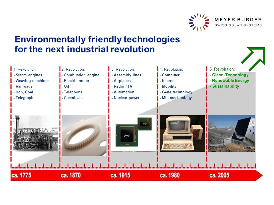 Environmentally friendly technologies for the next industrial revolution 1. Revolution: - Steam engines - Weaving machines - Railroads - Iron, Coal -