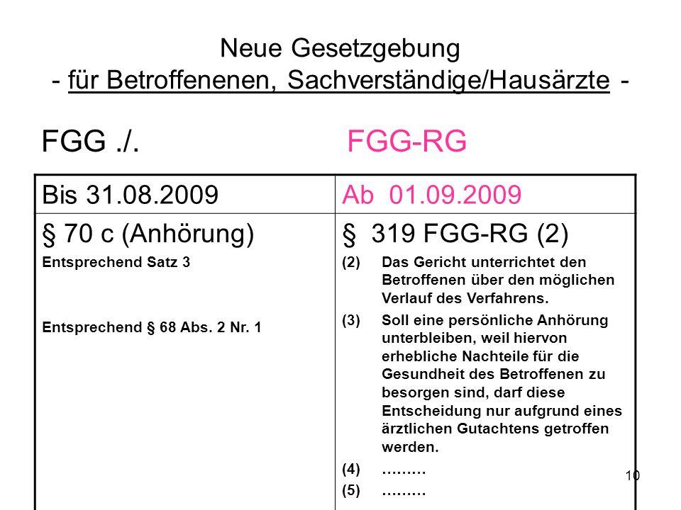 10 Neue Gesetzgebung - für Betroffenenen, Sachverständige/Hausärzte - FGG./. FGG-RG Bis 31.08.2009Ab 01.09.2009 § 70 c (Anhörung) Entsprechend Satz 3
