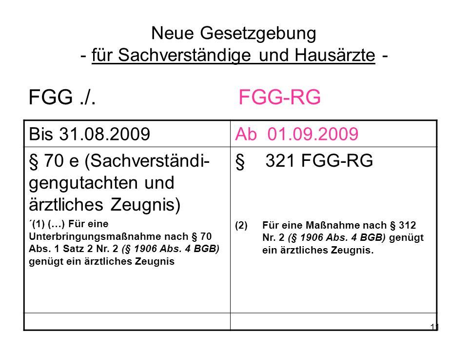 11 Neue Gesetzgebung - für Sachverständige und Hausärzte - FGG./. FGG-RG Bis 31.08.2009Ab 01.09.2009 § 70 e (Sachverständi- gengutachten und ärztliche