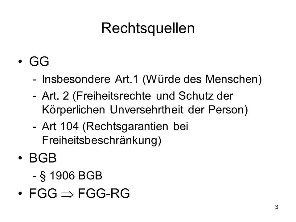 3 Rechtsquellen GG -Insbesondere Art.1 (Würde des Menschen) -Art. 2 (Freiheitsrechte und Schutz der Körperlichen Unversehrtheit der Person) -Art 104 (