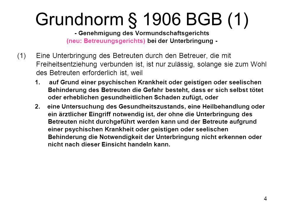 5 Grundnorm § 1906 BGB (2) (2)Die Unterbringung ist nur mit Genehmigung des Vormundschaftsgerichts (neu: Betreuungsgerichts) zulässig.