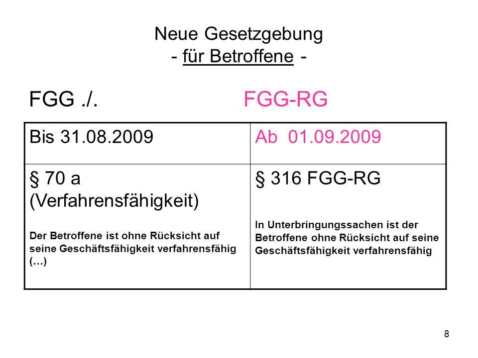 8 Neue Gesetzgebung - für Betroffene - FGG./. FGG-RG Bis 31.08.2009Ab 01.09.2009 § 70 a (Verfahrensfähigkeit) Der Betroffene ist ohne Rücksicht auf se