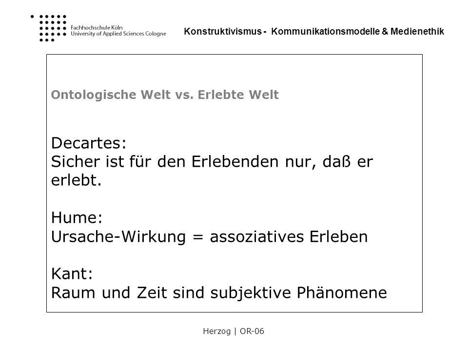 Herzog | OR-06 Konstruktivismus - Kommunikationsmodelle & Medienethik Ontologische Welt vs. Erlebte Welt Decartes: Sicher ist für den Erlebenden nur,
