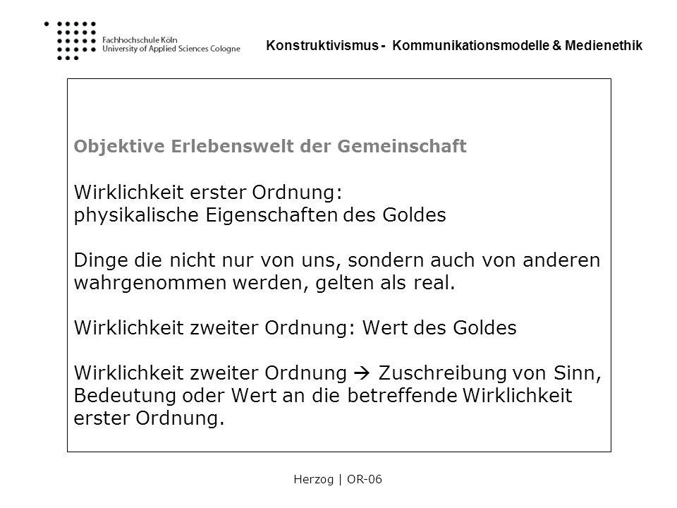 Herzog | OR-06 Konstruktivismus - Kommunikationsmodelle & Medienethik Objektive Erlebenswelt der Gemeinschaft Wirklichkeit erster Ordnung: physikalisc