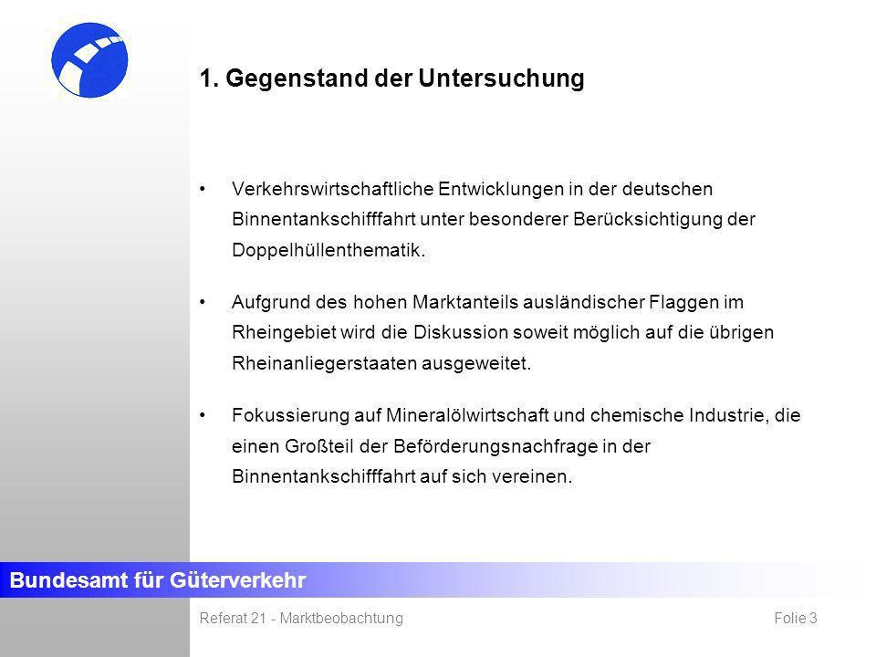 Bundesamt für Güterverkehr Referat 21 - Marktbeobachtung Folie 3 1. Gegenstand der Untersuchung Verkehrswirtschaftliche Entwicklungen in der deutschen